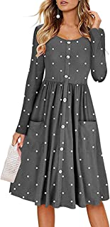 Respctful ❈ Women Long Sleeve Dress Fashion 0-Neck Button Maxi Dress with Pocket Knee