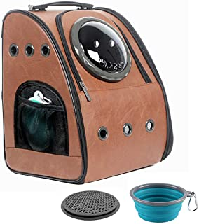 JAHUITE Upgraded Cat Backpack, Bubble Space Capsule Dog Backpack, Hiking Travelling Collapsible Pet Backpack Carrie, Fits 22 lbs Large Fat Cats and 16 lbs Medium Size of Puppy, Airline Approved