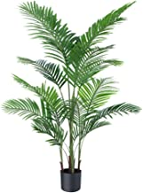 CheerGreen Artificial Plants Fake Plant Areca Palm Tree Plant in Pot Fake Yellow Palm 5.2 feet Faux Plants for Home Office...