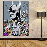 Faicai Art Banksy Graffiti Street Art Gemälde Wandbild Batman Pop Art Prints Poster Modern Home Decorations Kids Room Wall Decor Modern 12'x16' Batman