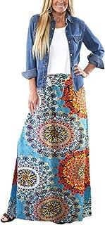 Yinggeli Women's Bohemian Print Long Maxi Skirt
