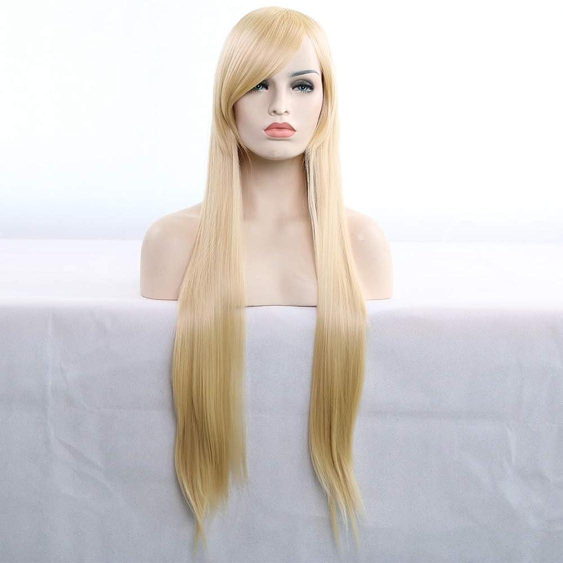 遅いスノーケルスペル女性用ロングナチュラルストレートヘアウィッグ31インチ人工毛替えウィッグハロウィンコスプレ衣装アニメパーティーウィッグ(ウィッグキャップ付き) (Color : Light gold)