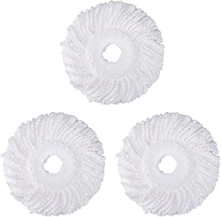 3 Pack 360° Spin Magic Mop Replacement Head, Round Shape Standard Size Microfiber Mop Head Refills for Hurricane Mopnado EGOFLEX Hapinnex Casabella and Other Brands