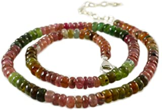 Women's Natural Multi Color Tourmaline Gemstone Beads Necklace with Silver Clasp 17 inches (43cm)