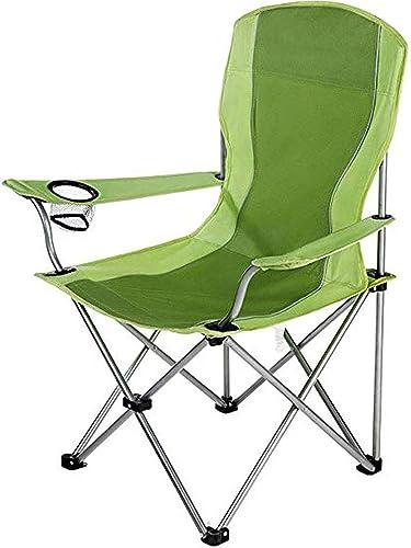 JJSFJH Chaise pliante en plein air en alliage d'aluminium ultra-léger, cadre en acier, camping rembourré avec accoudoir, support de tasse en maille, écurie portative pour le camping