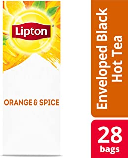 Lipton Black with Orange and Spice Enveloped Hot Tea Bags Made with Tea Leaves Sourced from Rainforest Alliance Certified Farms, 28 count, Pack of 6