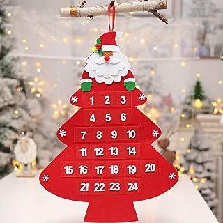 Christmas Countdown Calendar 2019 Santa Felt Advent Calendar with 24 Days Pockets Red Xmas Countdown to Christmas Advent Calendar for Kids