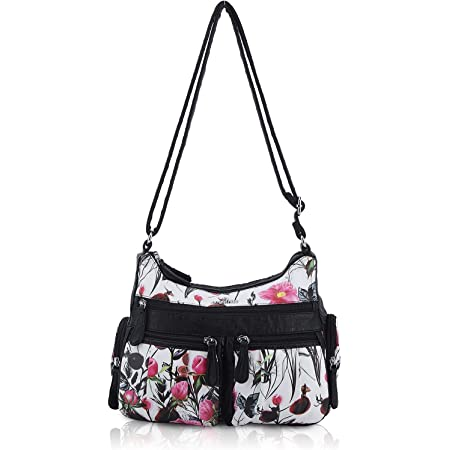 Angel Kiss Handtasche Damen Schultertasche Blume Hobo-Tasche ultraweiche Leder Umhängetasche Tasche Elegant Henkeltasche mit vielen fächern für Arbeit Schule Shopper Lässige täglich Rosa Schwarz