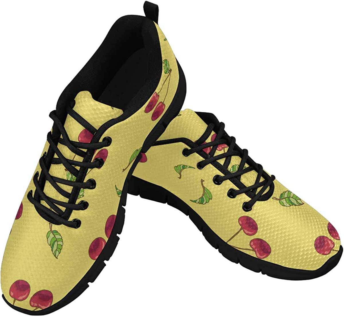 INTERESTPRINT Cherry Berries on Yellow Background Women's Athletic Mesh Breathable Casual Sneaker
