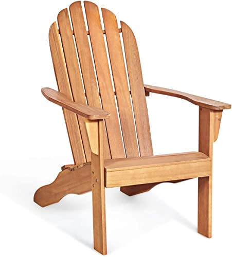 wholesale Giantex Adirondack online Chair Outdoor Wooden W/Ergonomic Design Acacia Chair for Yard, Patio, Garden, Poolside and 2021 Balcony Adirondack Deck Lounge Chair Armchair (1, Natural) online
