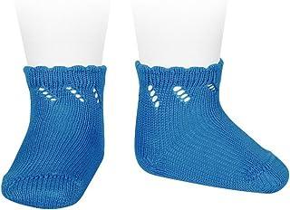 Condor, Cóndor Calcetines cortos de perlé para bebé con calado diagonal Azul, Talla 0 (6-12 meses)