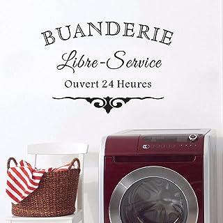 Decal de la buanderie murale style français Vinyle Sticker Toile de toile de vêtements de la salle de buanderie-22 noir_Ch...