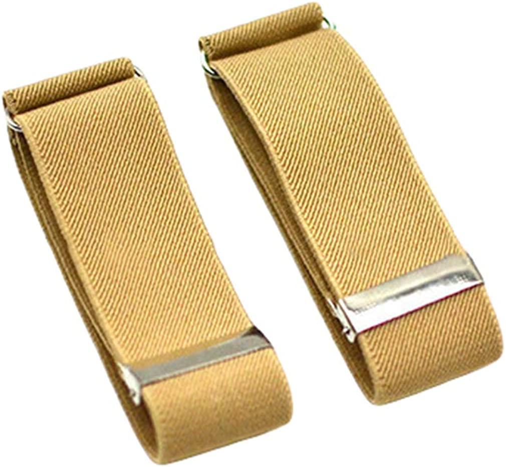 Men 2PCS Solid Color Adjustable Shirt Garters Sleeve Holders Armbands 1