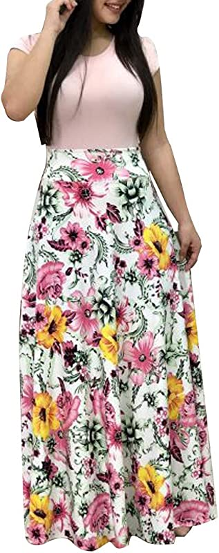 Toponly Women Summer Beach Boho Short Sleeve Long Tank Dress Strap Cami Floral Maxi Party Sundress With Pocket Plus Size