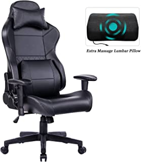 HEALGEN Gaming Office Chair with Large Lumbar Support,Reclining High Back Ergonomic Memory Foam Desk Chair,Racing Style PC Computer Executive Leather Chair with Headrest GM8260 (Black)