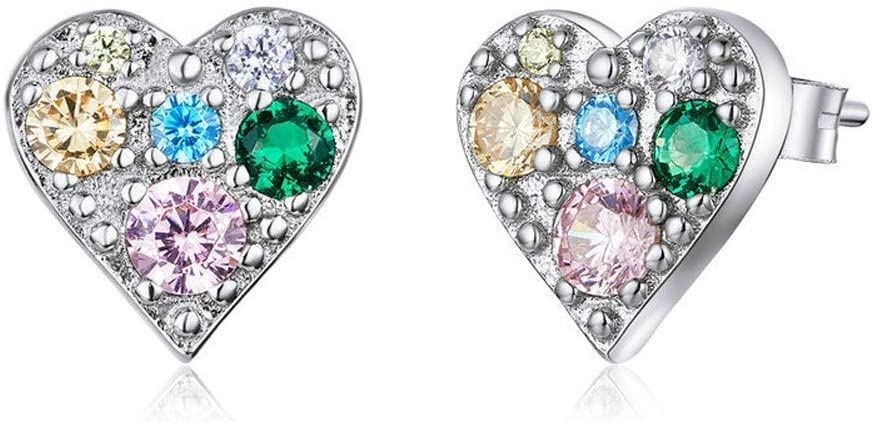 GaLon Max 64% OFF Ladies S925 Sterling Silver Colorful Love Stud Earrings Selling