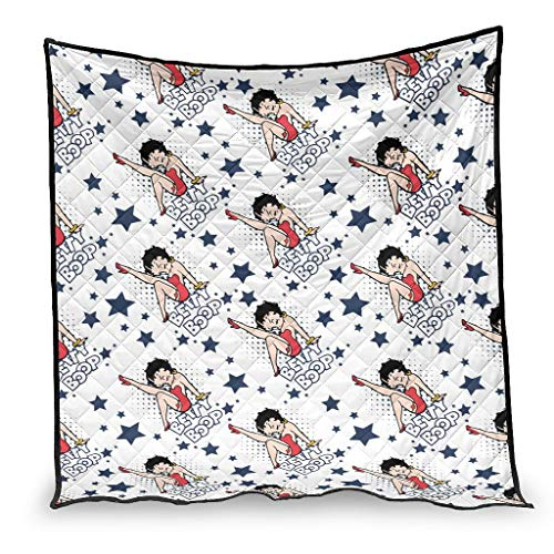 YshChemiy Betty Boop - Colcha de algodón para sofá (230 x 280 cm), color blanco