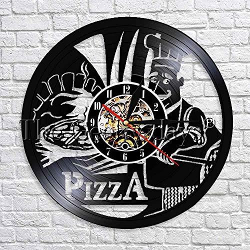 wtnhz LED-Pizza Shadow Art Clock Tema de la Comida Disco de Vinilo Reloj de Pared diseño Moderno Reloj de Cocina Cocina Arte Decorativo Pared