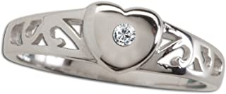 Sterling Silver Baby Heart Ring with a Dainty Diamond, Pink Sapphire or Ruby Accent