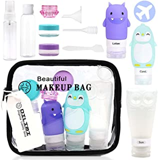 12Pcs Travel Bottle Set with Clear Toiletry Bag,Silicone Cute Penguin/Monster/Owl Bottle and Plastic Bottles in A Travel Bag For Men Women Travel Accessories