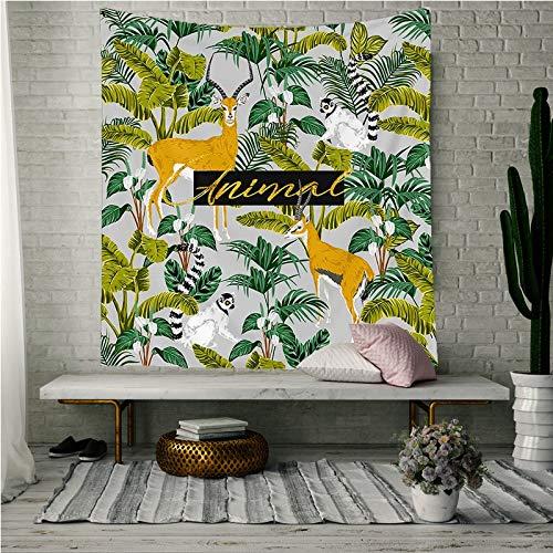 tapiz indie hippie Tapiz verde de verano para sala de estar Colcha de dormitorio Hojas de plantas tropicales Impreso Colgante de pared Flor Planta tapiz Telas