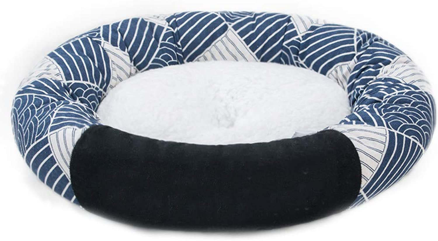 Printed Figure Pet Nest Printing And Wind Four Seasons Universal Round Small Velvet Dog Cat Litter Bed Villa Warm 3 Optional MUMUJIN (color   Checkered pattern, Size   S)