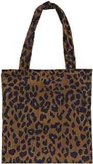 Generic Corduroy Shopping Bag Reusable Tote Handbag Leopard Pattern Shoulder Bags Shoppers A