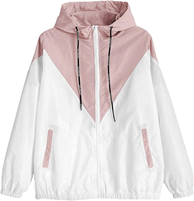 GOODTRADE8 Cardigan Sweaters Women Long Sleeve Patchwork Thin Skinsuits Hooded Zipper Pockets Sport Coat