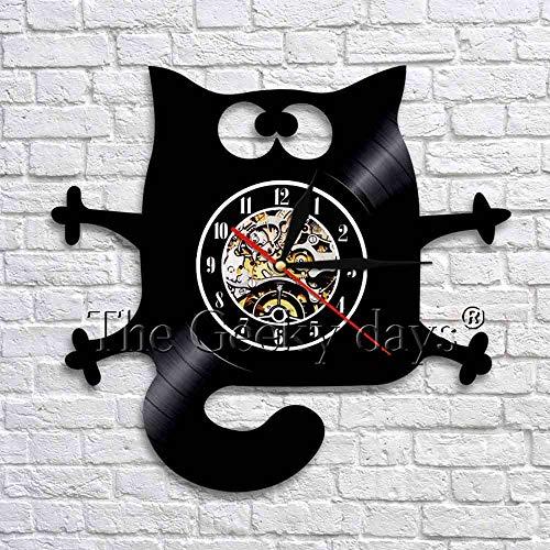 wtnhz LED Reloj de Pared de Vinilo Colorido Diseño de Gato Divertido Reloj de Pared con Disco de Vinilo Reloj Hecho a Mano decoración de la Pared del hogar Animal de Interior Reloj de Tiempo de ar