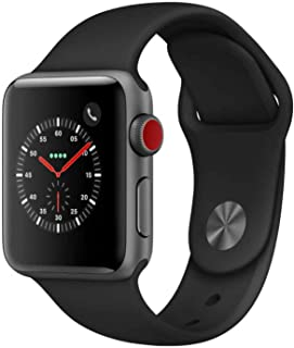 Apple Watch Series 3 (GPS + Cellular), 42mm Space Gray Aluminum Case with Black Sport Band - Grey (Renewed)