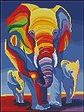 Sweet Home DMC Hilos contados Cruz Puntada Kits, Elefantes en Arco Iris 14 CT 38X47cm, 150 * 200 Aida Cruz Kit contado
