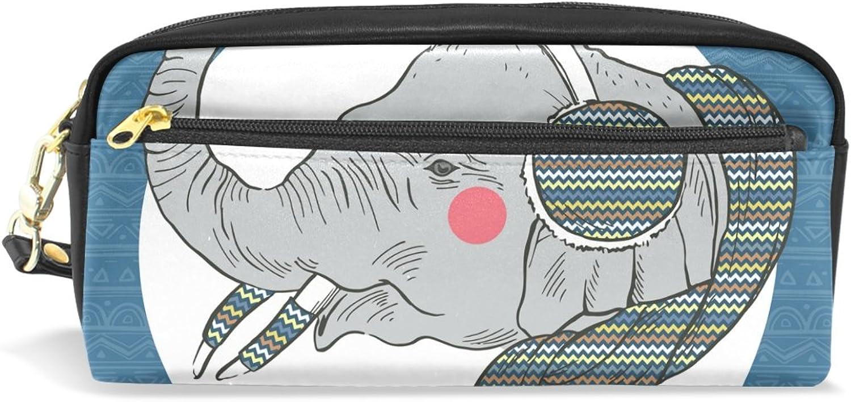 BENNIGIRY Weihnachtselefant Bleistift Fall tragbar Pen Tasche Student Schreibwaren Pouch PU Leder Groß Kapazität Reißverschluss Make-up Kosmetiktasche B077TN82X4 | Shopping Online