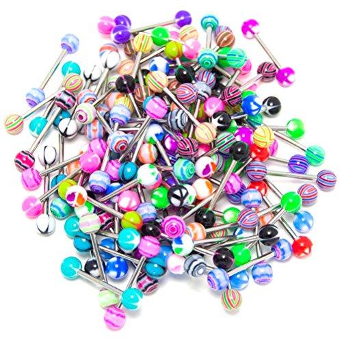 VORCOOL-Lote de 20 Piercings Stud Barbells diseño de lengua, color aleatorio