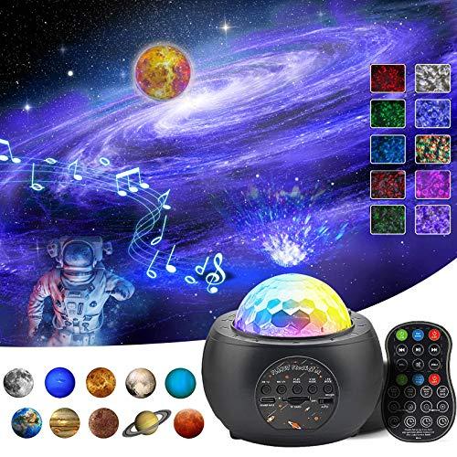 jagdag Sternenhimmel Projektor Planetenprojektor Nachtlicht, 10 Planetenprojektionen, 3 in 1 Meerwellen Projektionslampe, mit Fernbedienung/Bluetooth Musik Spieler für Kinder Schlafzimmer Erwachsene