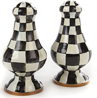 Courtly Check Enamel Large Salt & Pepper Shakers, BLACK/WHITE