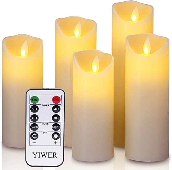 YIWER LED Candles 5 5 6 6 5 7 8 Set Of 5 Real Wax Battery Flameless Candles Include Realistic Dancing LED Flames And 10 Key Remote Control With 2 4 6 8 Hours Timer Function 300 Hours Ivory