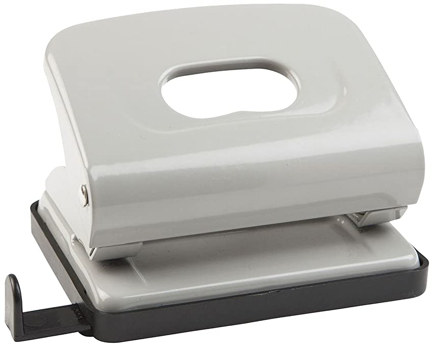 Idena 300903 Hole Punch with Paper Guide, Hole Punch up to 16 Sheets Lochstanzung Diameter: 5.5 MM, Made from Metal, Grey