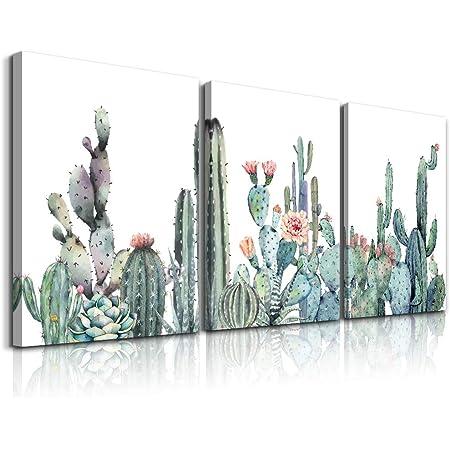 Cactus Bathroom Decor Botanical Flower Bedroom Wall Art Tropical Plant Canvas Prints Kitchen Modern Artwork Painting Home Decoration 12 X 16 Cacti Succulent Pictures Office Decorations Set 3 Panels Home