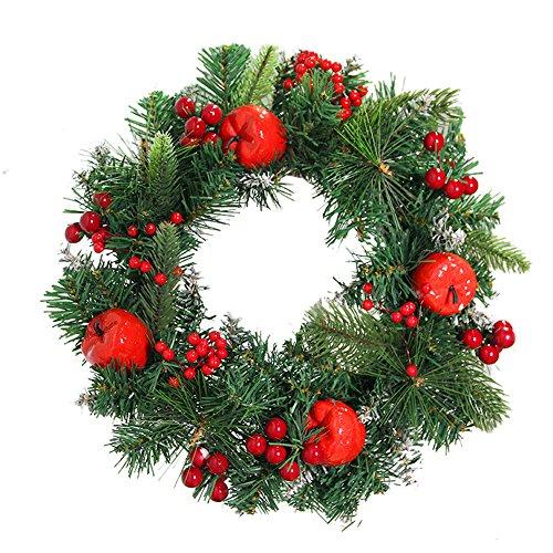 About1988 Weihnachtskranz, Adventskranz Weihnachts Türkranz Weihnachtsdeko Kranz Weihnachtsgirlande mit Kugeln Handarbeit Weihnachten Garland Deko-Kranz (E)