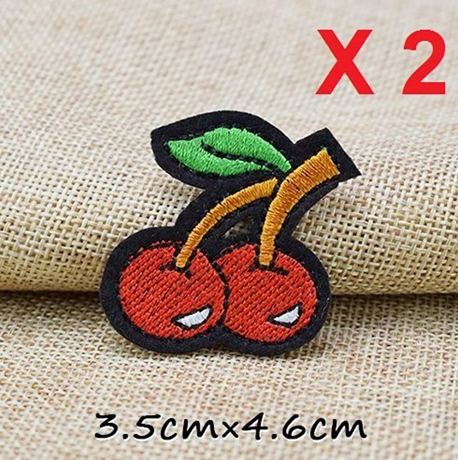 2 Red Green Cherry Iron On Patch 35x46mm R027