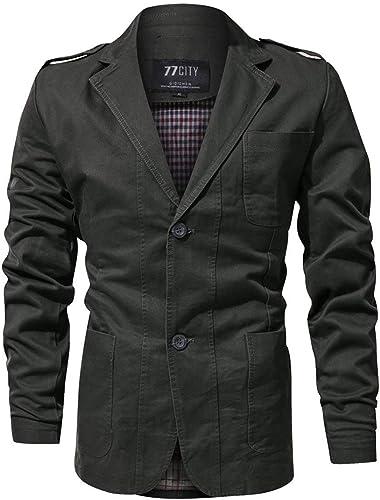Qiusa Veste légère en Coton à Deux Boutons pour Hommes de la Mode pour Hommes (Couleuré   Vert, Taille   XXL)
