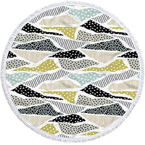 NHhuai Toallas Playa algodón Fino Muy absorbentes, Ligeras y de máxima suavidad. Toalla de baño Redonda 3D más geometría de Borla