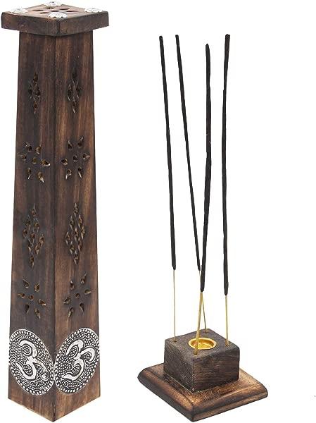 DharmaObjects 木名匠装饰台面线香座香炉塔站 Om