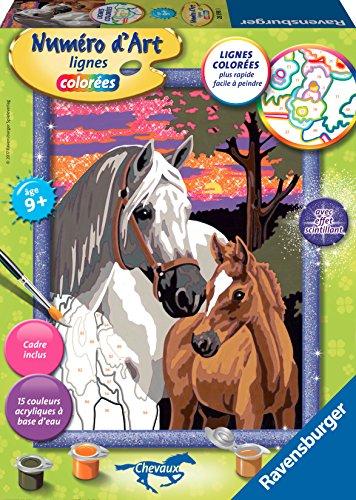 Ravensburger - Numero d'Arte - Medio Formato - Cavalli al Tramonto - Hobby Creativo - Pittura - Bambino da 9 Anni - 28598
