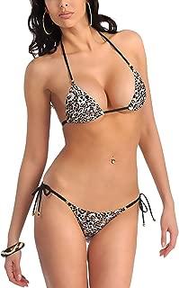 Xs and Os Women's Animal Print Embellished Bikini Bra Panty Lingerie Set