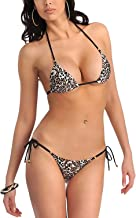 Xs and Os Women's Animal Print Embellished Bikini Bra Panty Lingerie Set