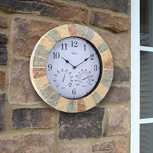 Product Image 3: Lily's Home Hanging Wall Clock, Includes a Thermometer and Hygrometer and is Ideal for Indoor and Outdoor Use, Wonderful Housewarming Gift for Friends, Faux-Stone (14 Inches)