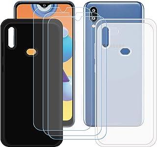 TTJ Svart + genomskinligt skal för Samsung Galaxy M01S + [3 stycken] HD pansarglas, mobiltelefonfodral silikon skyddande f...