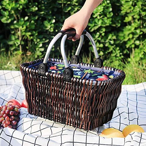 Cestas de mimbre Cesta de picnic para 2 personas camping y reunión al aire libre,as shown