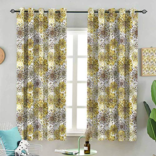 Dasnh Indoor Curtain Cute Artistic Blossoms W72 x L63 Inch (2 Panels) with Grommet for Living Room
